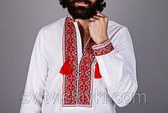 Вышитая мужская рубашка на домотканом лене с красным орнаментом , фото 3