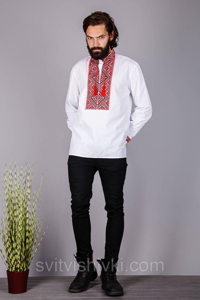 Чоловіча вишита сорочка червоним хрестиком на білому батісті
