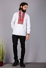 Чоловіча вишита сорочка червоним хрестиком на білому батісті, фото 3