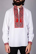 Чоловіча вишита сорочка червоним хрестиком на білому батісті, фото 2