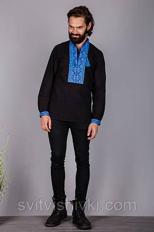 Вишита чоловіча сорочка на чорному льоні, фото 2