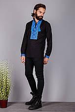 Вишита чоловіча сорочка на чорному льоні, фото 3