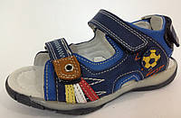 Детские сандалии босоножки кожаные на мальчика футбол синий цвет  Том.М. 26