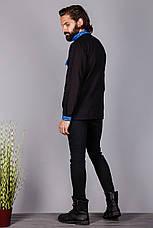 Вышитая мужская сорочка на черном лене, фото 3