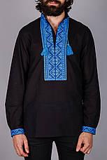 Вышитая мужская сорочка на черном лене, фото 2