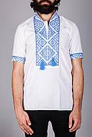 Мужская вышитая рубашка на короткий рукав с синим узором