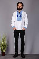 Мужская вышиванка на домотканом полотне с синий вышивкой
