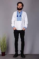 Чоловіча вишиванка на домотканому полотні з вишивкою синій, фото 2