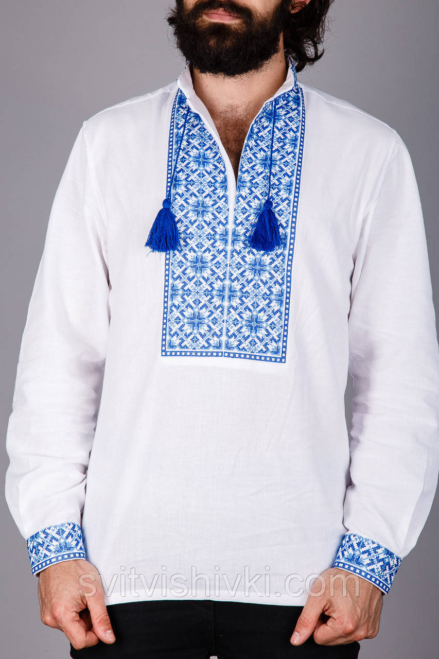 Чоловіча вишиванка на домотканому полотні з вишивкою синій