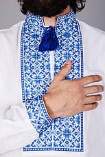 Чоловіча вишиванка на домотканому полотні з вишивкою синій, фото 3