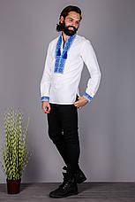 Чоловіча вишита сорочка з коротким рукавом і синім візерунком, фото 2