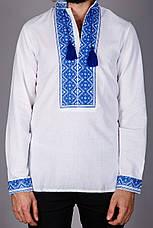 Чоловіча вишита сорочка з коротким рукавом і синім візерунком, фото 3