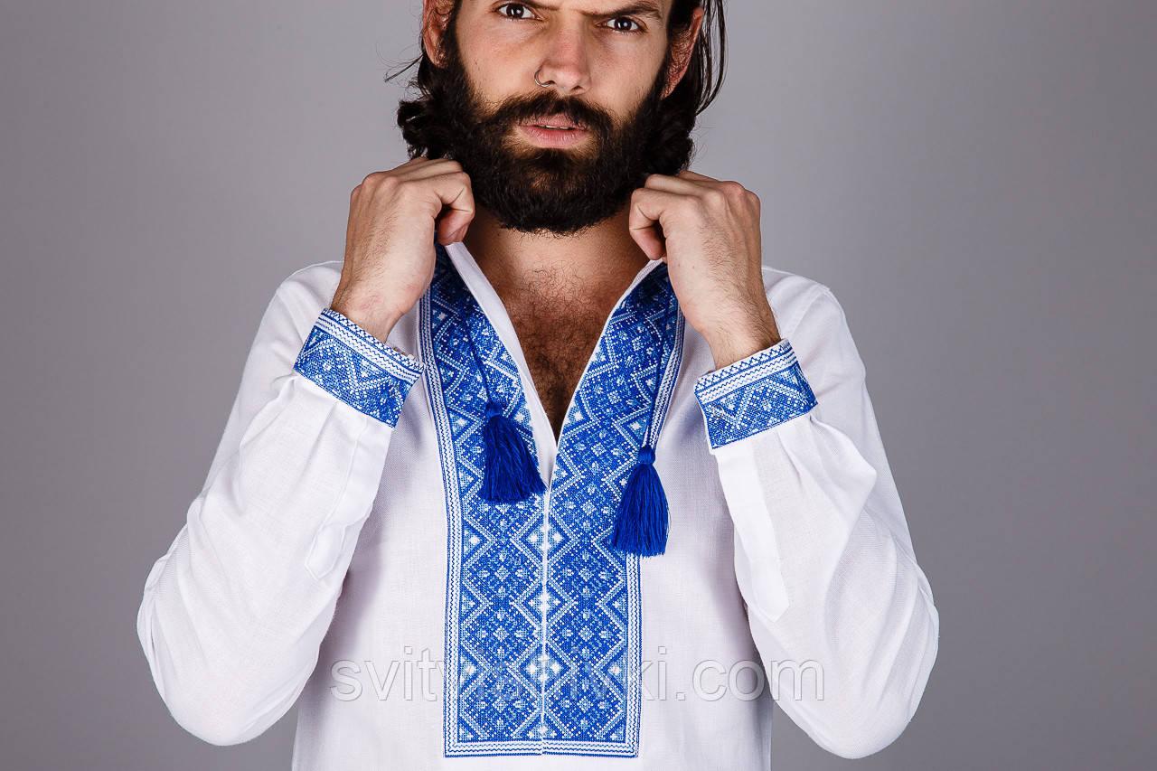 Чоловіча вишита сорочка з коротким рукавом і синім візерунком