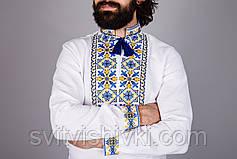 Вишита чоловіча сорочка на домотканому олені з жовто - блакитним орнаментом, фото 2