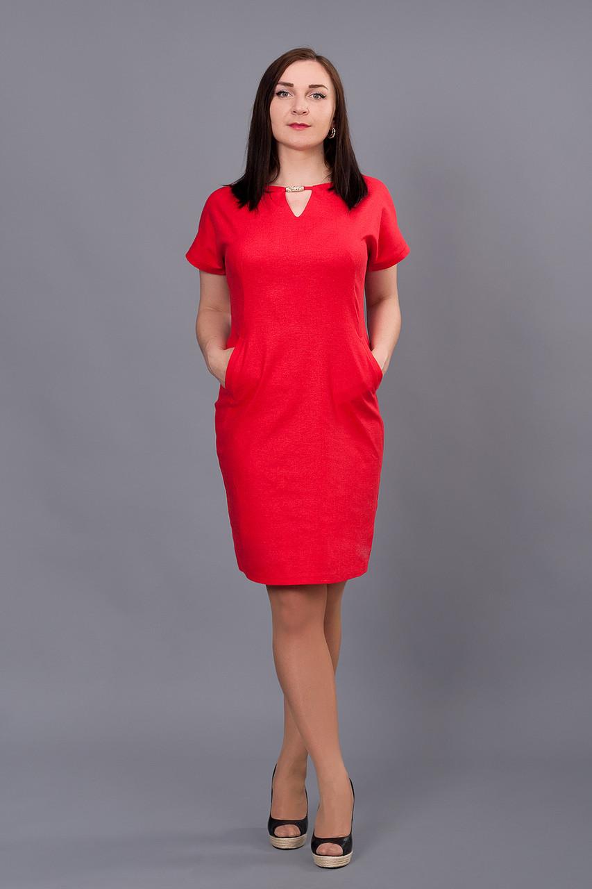 1c93103ba7b Яркое платье из льна Вектра красного цвета