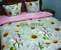 Постельное белье из бязи оптом и в розницу,  Большие ромашки на розовом 0914-3
