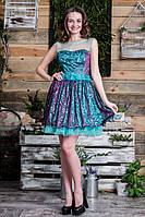 Люрексовое платье с поясом украшенный  бусинками