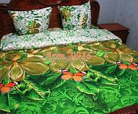 Постельное белье из бязи оптом и в розницу, Большие зеленые цветы 0916