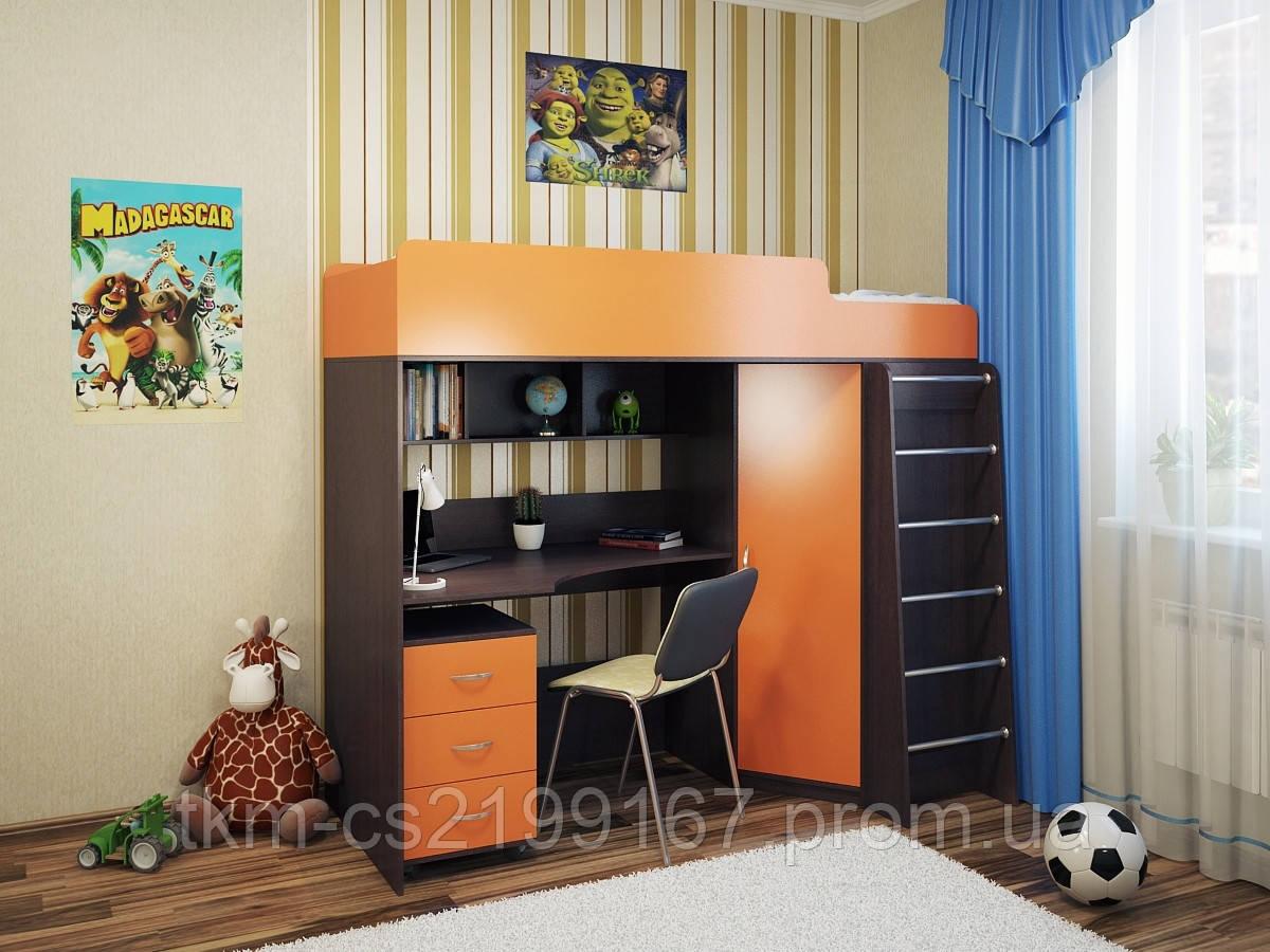 Кровать-чердак с угловым шкафом и письменным столом Саванна - ТКМ- Твоя Корпусная Мебель в Киеве