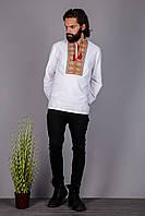 Вышитая мужская рубашка на домотканом лене с необычным  орнаментом