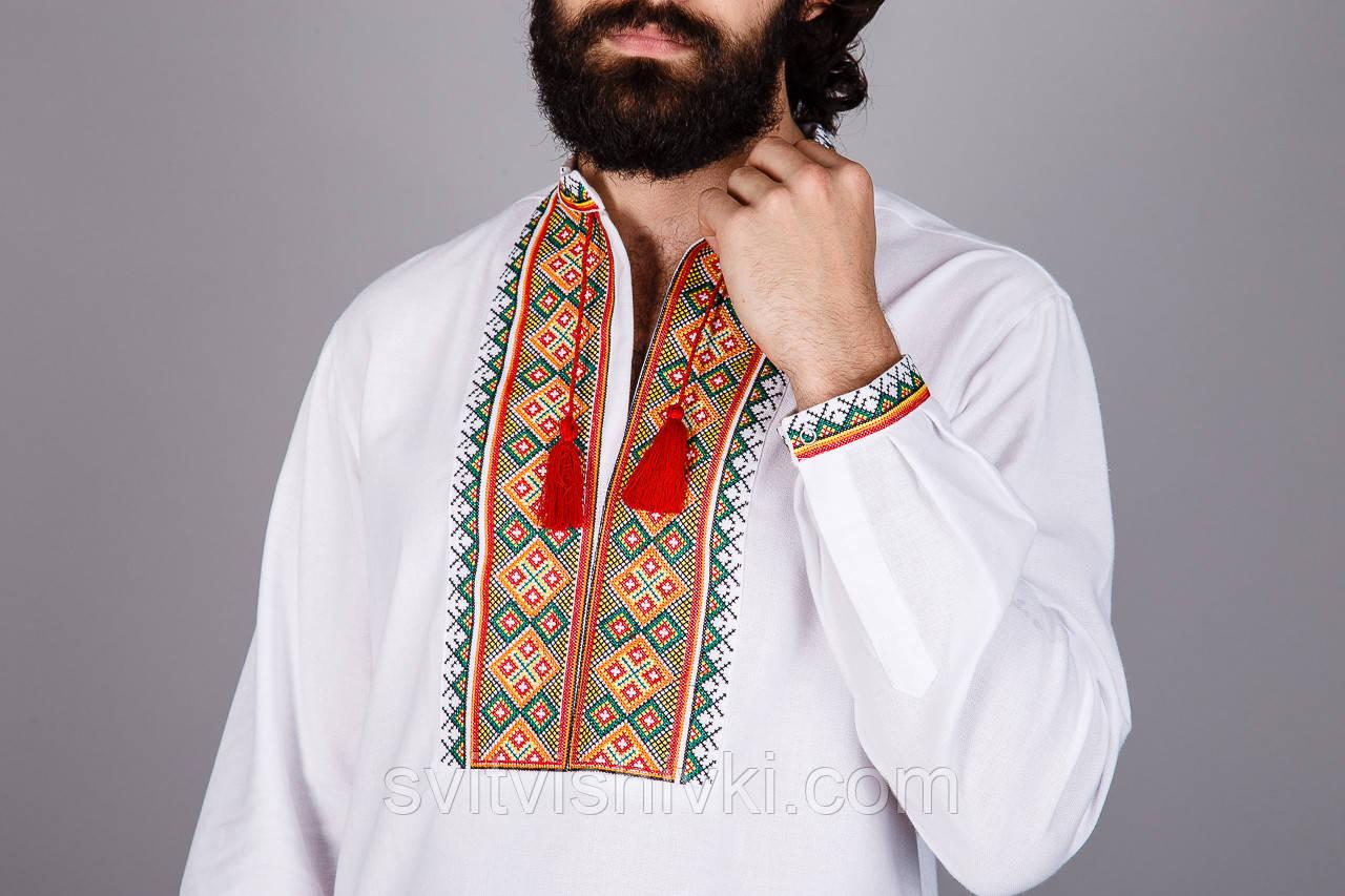 Вишита чоловіча сорочка на домотканому олені з незвичайним орнаментом