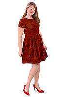 Леопардовое платье , терракот бархат на сетке , пл 184.