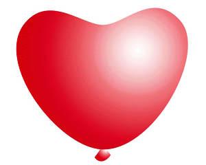 Повітряні кулі латексні Gemar, забарвлення: Пастель, форма: Фігурні, червоне серце, Діаметр 16 см, 100 шт.