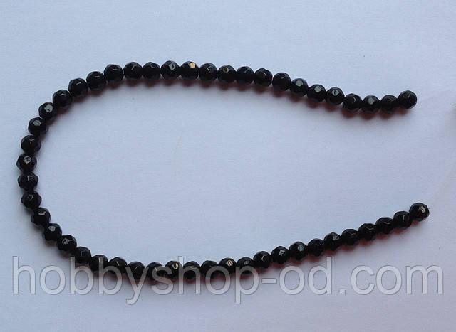 Бусина Шар с огранкой цвет черный 6 мм