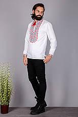 Чоловіча вишита сорочка з оригінальним візерунком вишитим хрестиком, фото 3