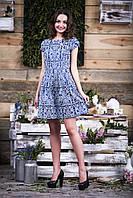 Жаккардовое платье цвета индиго  с матовым орнаментальным узором