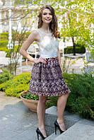 Гипюровое платье с юбкой из атлас-гофре