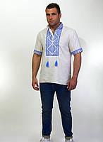 Вышитая мужская сорочка на лене, разные расцветки