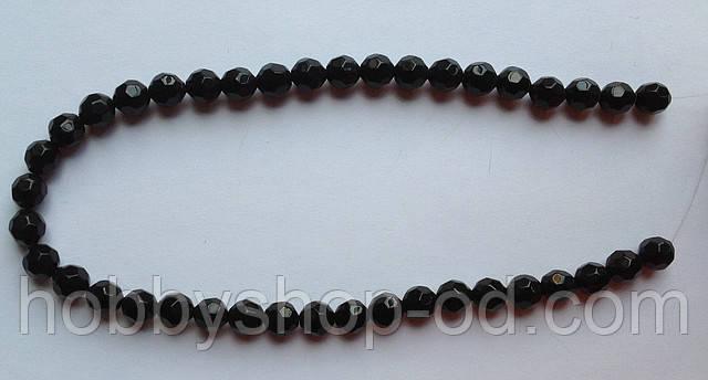Бусина Шар с огранкой цвет черный 8 мм