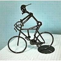 "Техно-арт статуэтка из металла ""Велосипидист"" Темно-серый"