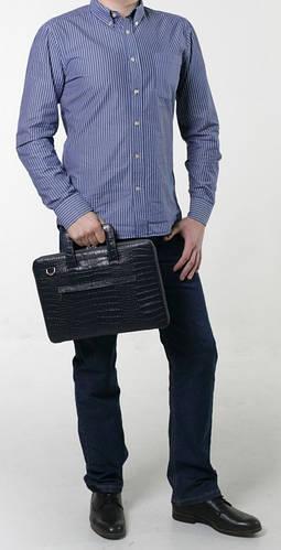 """Респектабельная мужская сумка с тиснением для MacBook 13"""", кожаная ISSA HARA B13 (21-00) black"""