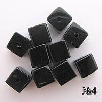 Бусина Куб цвет черный 8*8 мм