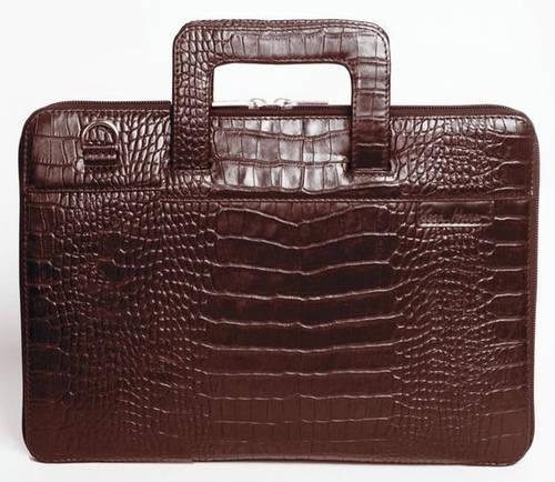 """Модная сумка с тиснением для MacBook 13"""", кожаная ISSA HARA B13 (22-00) brown"""