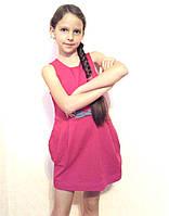 Платье детское хлопковое с карманами розовое Sofie Gray 116 см