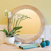 Зеркало круглое в раме из массива дерева 008