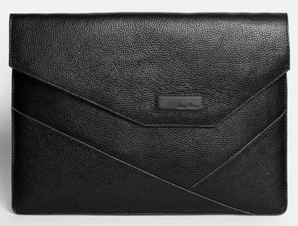 """Строгая мужская папка для MacBook 12"""" кожаная ISSA HARA MC12 (11-00) black"""