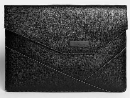"Стильная мужская папка-чехол для MacBook 13"", натуральная кожа ISSA HARA MC13 (11-00) black"