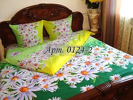 Постельное белье из бязи оптом и в розницу, Ромашки на зеленом фоне 0124-2