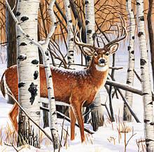 Декупажная салфетка Олень в зимнем лесу 5832