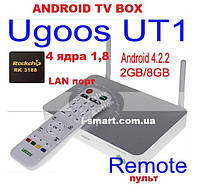 Ugoos UT1 4ядра 2гб DDR3 LAN USB AV-out+пульт +НАСТРОЙКИ I-SMART