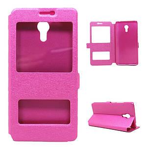Чехол для Meizu M3 Note / Blue Charm Note3 книжка боковой с окошком, Шелковая фактура, Розовый