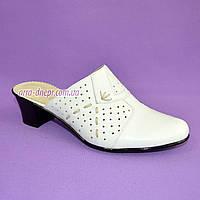 Сабо женские кожаные белого цвета на не высоком каблуке. , фото 1