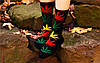 Носки HUF plantlife, черные с разнацветным листом конопли Д22