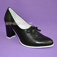 Женские классические черные кожаные туфли на высоком каблуке на шнуровке, фото 1