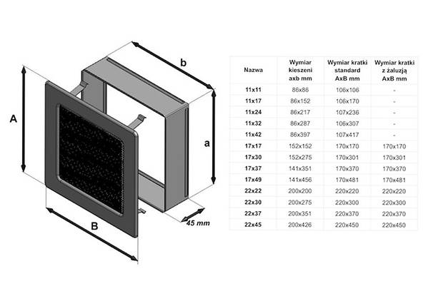 Коробка для вентиляционной каминной решетки KRATKI 11х42 см, фото 2