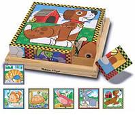 """Кубики в коробке 16 шт """"Домашние животные"""""""
